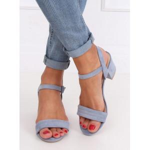 Krásne modré dámske semišové sandále na opätku
