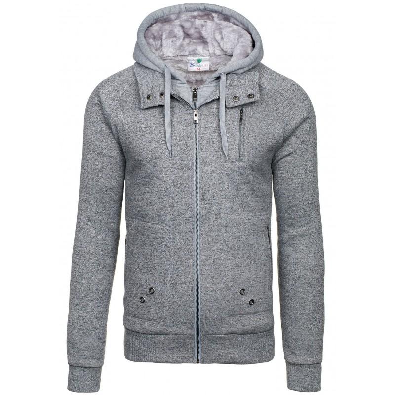 Pánska sivá zateplená mikina na jeseň - fashionday.eu 06f33f0f20b