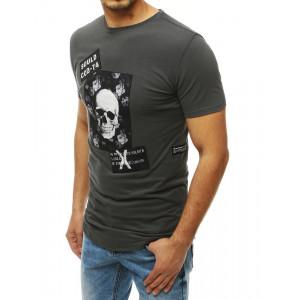 Pánske Šedé tričko s potlačou lebky