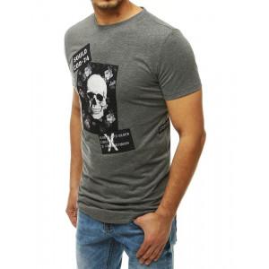 Sivé pánske tričko s potlačou lebky