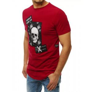 Bordové pánske tričko s potlačou lebky