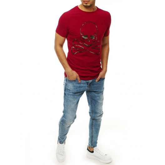 Červené trička s potlačou lebky