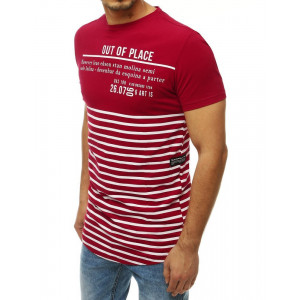 Pruhované pánske červené tričko