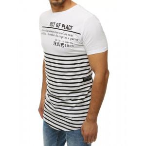Pruhované pánske biele tričko