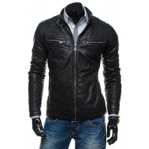 Elegantná pánska kožená bunda bez kapucne