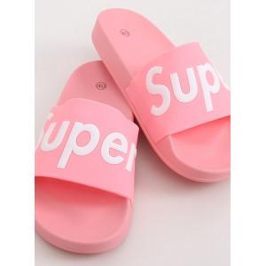 Ružové dámske gumené šľapky s nápisom SUPER