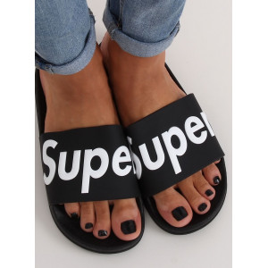 Moderné dámske čierne gumené šľapky s nápisom SUPER