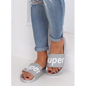 Strieborno sivé dámske gumené šľapky s nápisom SUPER