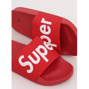 Červené dámske gumené šľapky s nápisom SUPER