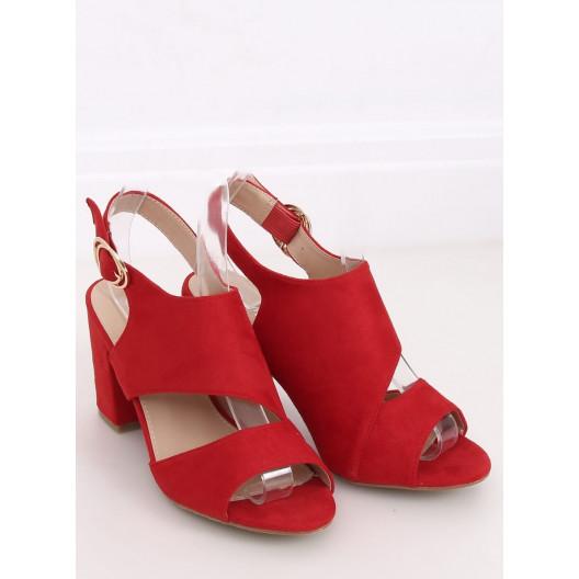 Originálne dámske červené sandále na opätku