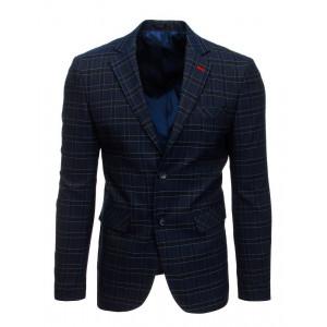 Tmavo modré kárované pánske sako s jednoradovým zapínaním