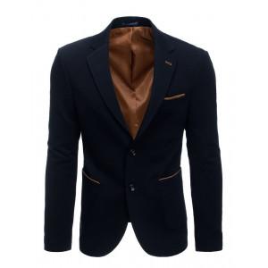 Štýlové pánske tmavo modré sako s designovým lemovaním