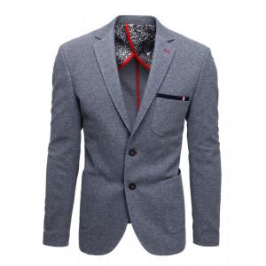 Originálne pánske sivé sako do mesta s lakťovými nášivkami
