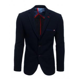 Granátovo modré pánske ležérne sako s nášivkami na lakťoch