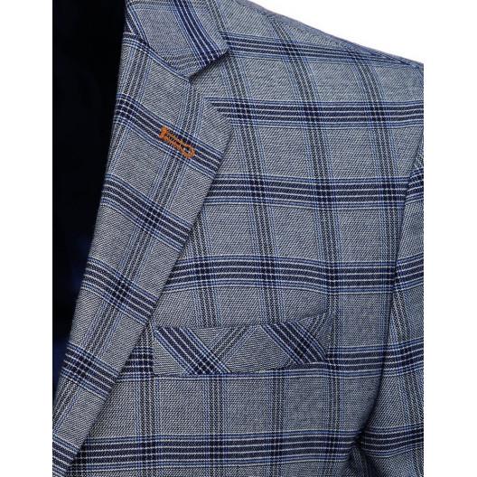 Moderné pánske sivé sako so zapínaním na dva gombíky