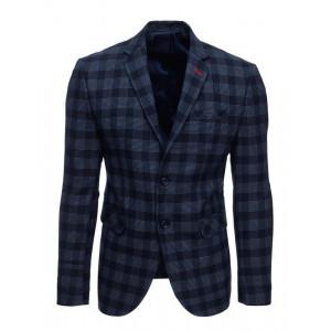 Ležérne anske modré kárované sako s dvojradovým zapínaním