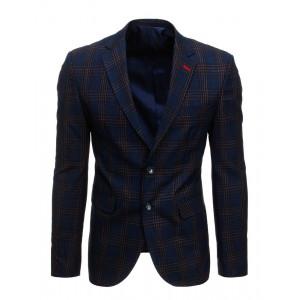 Kárované pánske ležérne modré sako