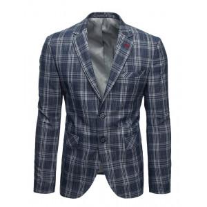 Štýlové pánske modro sivé sako ležérneho strihu