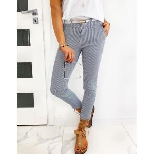 Originálne bielo modré dámske pásikované nohavice