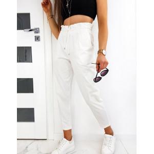 Originálne dámske biele nohavice s vysokým pásom