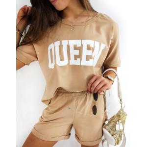 Dámsky hnedý camel športový komplet s nápisom QUEEN