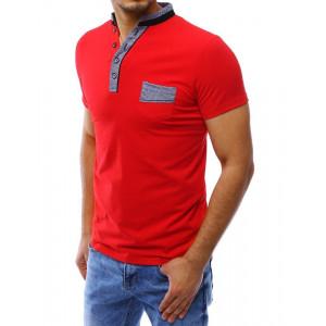 Pánska letná polokošeľa s krátkym rukávom v červenej farbe