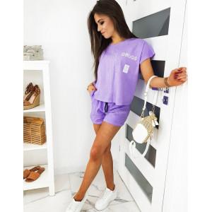 Trendy dámska fialová tepláková súprava so šortkami