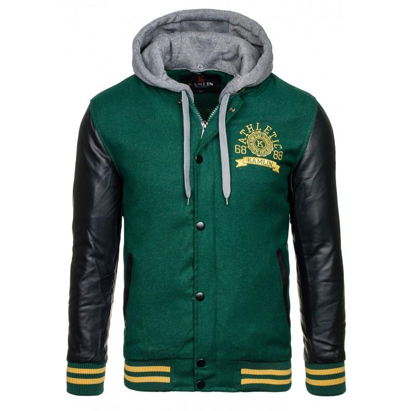 Pánska zateplená mikina zelenej farby s gombíkmi a kapucňou ... 24060233de8