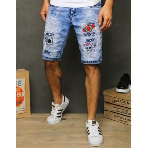 Pánske pohodlné džínsové kraťasy s nášivkami