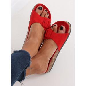 Červené dámske korkové šľapky s prackou