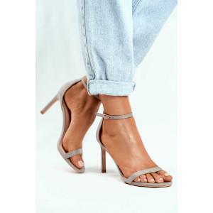 Dámske svetlosivé sandálky s tenkou prackou