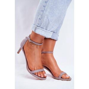 Dámske šedé sandálky s tenkou prackou