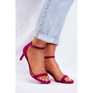 Dámske sandálky na nízkom podpätku v odtieni fuchsia