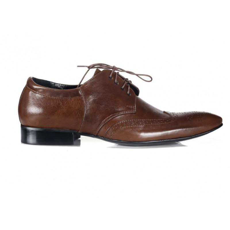 fa3fe2d97c Talianske kožené pánske topánky hnedej farby COMODO E SANO ...