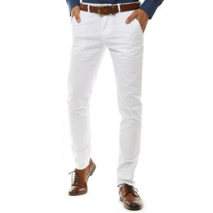 Biele pánske chino nohavice