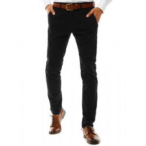 Štýlové pánske čierne bavlnené chino nohavice