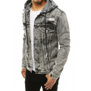 Tmavosivá štýlová pánska rifľová bunda s kapucňou