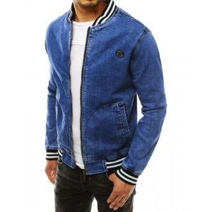 Pánska modrá rifľová bunda s golierom