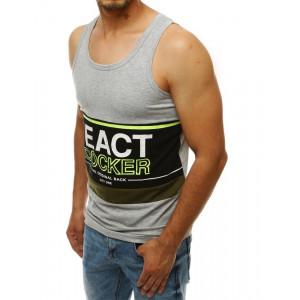 Sivé pánske tričko bez rukávov s nápisom