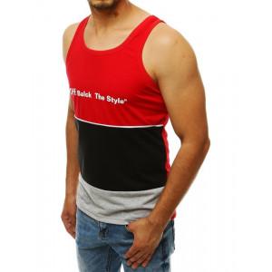 Pánske tričko bez rukávou trojfarebnej kombinácie - červené