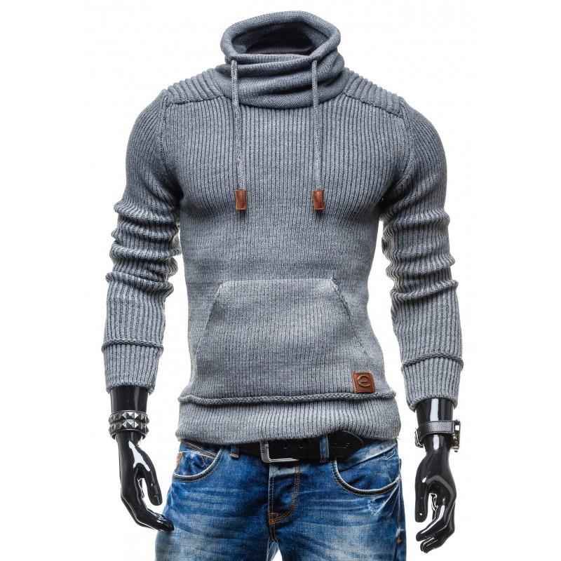 5a51c63fad268 Pánsky sivý sveter s golierom a vreckom - fashionday.eu