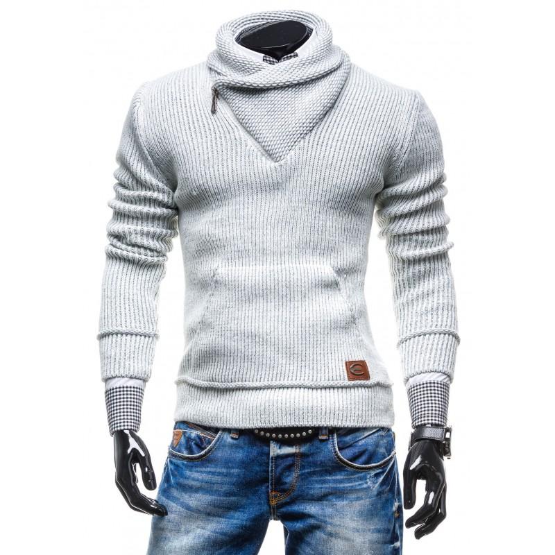 5dfddab4a7a8 Teplý pánsky sveter biely s golierom - fashionday.eu