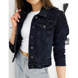 Čierna dámska rifľová bunda s módnymi dierami