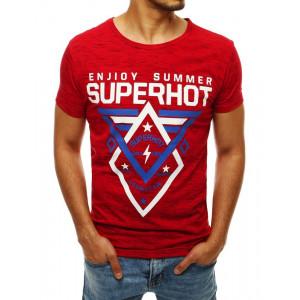 Lacné tričko na leto v červenej farbe s potlačou
