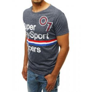 Tmavomodré tričko s potlačou nápisu