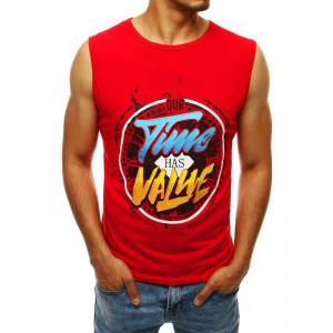 Pánske tričko červenej farby  bez rukávov s modernou farbenu potlačou