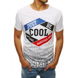 Lacné pánske tričko v bielej farbe s potlačou