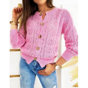 Pletený sveter na gombíky v ružovej farbe
