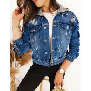 Trendy dámska rifľová bunda s kapucňou