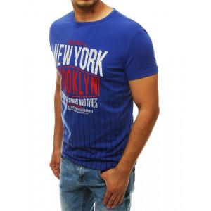 Modré pánske tričko s pruhmi a nápisom